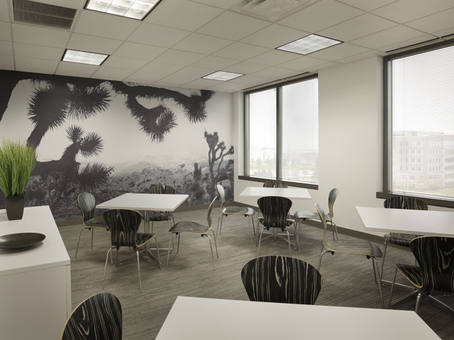 cafeteria, lunch room, break room, wall art mural